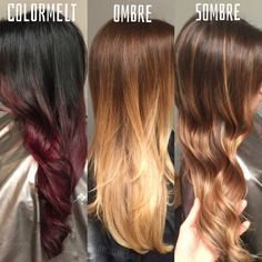 The difference between colormelt, ombre, and sombre