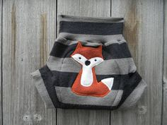 Upcycled Merino Wool Soaker Cover Diaper Cover with fox