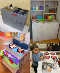 Childhood 101 | DIY Kitchens from boxes and small re-purposed cabinets-Play Kitchen Inspiration. Do you have a toddler who loves kitchen play?
