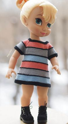 "#Knitted dress for 16 inch dolls, 16"" #Doll #Clothes, hand knit Dress 16-in dolls, #Disney #Animators #Collection #Princess dress, Kidz n Cats"