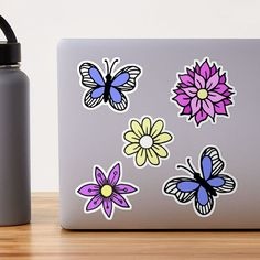 """Pastel Flowers and Blue Butterflies Sticker Pack"" Sticker by julieerindesign 