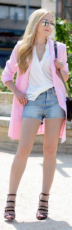 Monki Pink Women's Long Line Blazer by Oh My Vogue