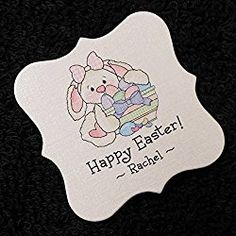 Easter Tags, White Bunny with Bowl of Eggs, 25 Personalized 2 x 2 inch - wedding posts Easter Gift, Happy Easter, Gift Tags, Bunny, Eggs, Stamp, Elite Socks, Ticket, Laughing