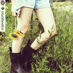 We like these #muckboots paired with denim jean shorts for summer. @muckbootco