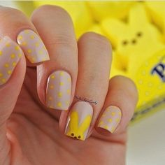 Beautiful children nails, Beautiful kid nails, Bunny nails, Cheerful nails, Children nails with pattern, Cool nails, Flirty nails, Grey and yellow nails