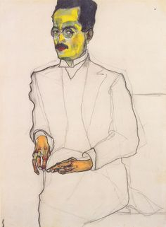 Egon Schiele, Portrait of a Gentleman, 1910, 39.7 x 29.1 cm, Private Collection