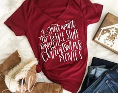 I Just Want To Bake Stuff And Watch Christmas Movies t-shirt Merry Little Christmas, Plaid Christmas, Christmas Svg, Cute Christmas Shirts, Christmas Clothes, Christmas Ideas, Christmas Outfits, Christmas Things, Christmas Pajamas