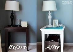 Update an Old Lamp with Paint ~ Madigan Made { simple DIY ideas }  Also used Rub N Buff in Silver to detail the lamp.  Complete DIY at:  http://www.madiganmade.com/2012/06/update-old-lamp-with-paint.html#