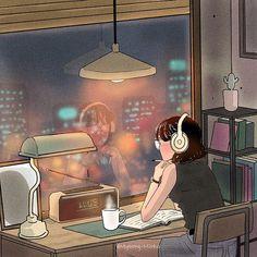 mil Me gusta, 37 comentarios - 명민호(Myeong-Minho)🇰🇷 ( . Aesthetic Art, Aesthetic Anime, Anime Scenery, Anime Art Girl, Cute Illustration, Cute Drawings, Cute Art, Art Sketches, Artwork