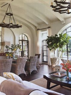 Arched ceiling with beams and corbels