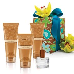 To create a cute gift bag for your mother combine Mary Kay's Warm Amber:  Eau de Toilette ~ Sugar Scrub ~ Shower Gel ~ Body Lotion