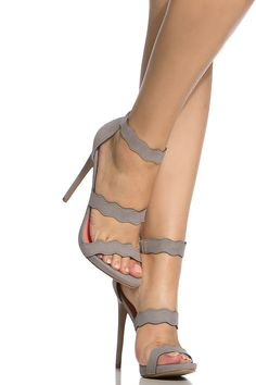 Grey Faux Suede Scalloped Single Sole Heels @ Cicihot Heel Shoes online store sales:Stiletto Heel Shoes,High Heel Pumps,Womens High Heel Shoes,Prom Shoes,Summer Shoes,Spring Shoes,Spool Heel,Womens Dress Shoes