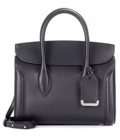 7d415b4cb9358 Alexander McQueen Heroine 30 Medium Satchel Handbag MSRP $2490 Black Leather  Tote, Satchel Handbags,