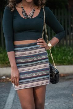 crop top + leather trim skirt = perfect fall going out outfit