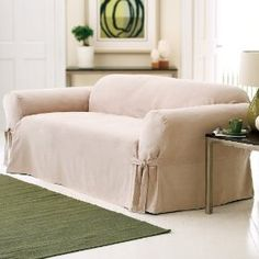 Soft Suede Sofa Slipcover - Taupe