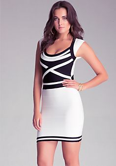 Bebe striped black and white dress