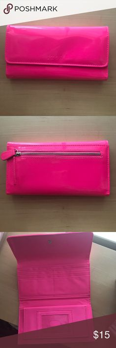 IZOD Bright Pink Wallet NWOT Snap closure wallet with checkbook holder and 6 card slots. Zippered pouch on back works properly. Izod Bags Wallets