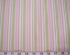 Sweet Dreams Pink, Green, and  Cream Striped Quilting Fabric Priced per HALF Yard