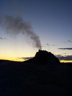 White Dome Geyser at Sunset. Taken in Yellowstone National Park, Wyoming, U.S.A.