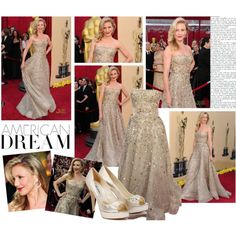 2010 Academy Awards~ Cameron Diaz by snugget9530 on Polyvore featuring Brian Atwood, Oscar de la Renta and CO
