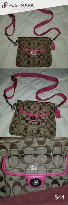 "Coach Signature Crossbody Bag Brown/Pink Very slightly worn but in great condition! Purse is 8"" in width and 7"" in length. Please comment below if you have any questions! Coach Bags Crossbody Bags"