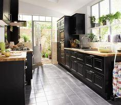 cool Idée relooking cuisine - La cuisine bois et noir - c\'est le ...