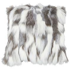 Nordic Fox White and Gray Square Plush Faux Fur Pillow - Style # White Throw Pillows, Sofa Pillows, Scandinavian Furniture, Scandinavian Interiors, Fur Pillow, Crystal Decor, Dark Grey Color, Designer Throw Pillows, Decorative Pillows