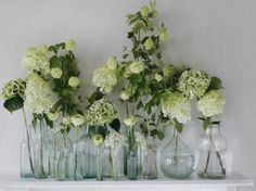 White and green flowers in small glass vases.
