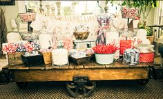 Antique and Vintage:  Movie Candy Bar: As the night wears on, you'll need a sugar kick. So set up a bar filled with your favorite movie time sweets. Layout boxes of candy bars and fill vases and bowls with treats like Snow Caps, Sour Patch Kids and Twizzlers.