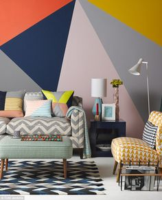 SOFA, £6,464 (in PIENZA CHEVRON FABRIC),I & JL Brown. Cushions, from left: KELIM LINES, £62,Smug. GREY ISOSCELES,£85, Niki Jones, from Amara. PINK and BLUE, £39, Smug. GEO CUSHION COVER, £10, Ikea. THROW, £165, Jonathan Adler. RUG, £700, Heal's. FOOTSTOOL, £295, Oliver Bonas. TEACUP and SAUCER, £110, Richard Brendon. Draughts and CHESSSET, £19.95, Wild & Wolf. FLOCKTAIL CHAIR, £595, Florrie + Bill. CUSHION, £65, Flock. FLOOR LAMP, £195, Heal's. CUBE SIDE TABLE, £535, Kelly Hoppen. On table…