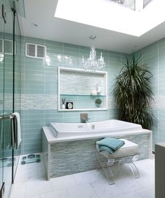Duck egg blue and/or glass (look) tiles for bathroom?