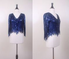 Vintage Sequin Blouse / Scalloped Silk Flapper Top by mousevoxvintage, $38.00