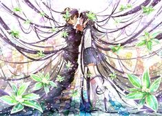 ✮ ANIME ART ✮ anime couple. . .romantic. . .love. . .sweet. . .long hair. . .floating. . .holding hands. . .flowers. . .sparkling. . .fantasy. . .cute. . .kawaii