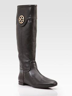 Tory Burch Selma Leather Knee High Flat Boots