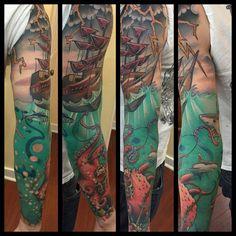 Kraken sleeve by Barham Williams at Loose Screw Tattoo in Richmond, VA