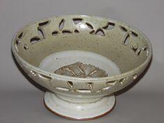 Carved Gingko Leaf Pedestal Bowl