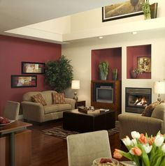 Burgendy Accent Wall Burgundy Accent Wall In Living Room For The Home Pinterest