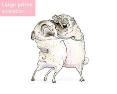 Old Love Pug Art Print  Pug Love Artwork Square Art by Inkpug