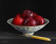 Jessica Brown. Still Life with Plums in Chinese Bowl
