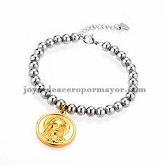 brazalete de bola plateado con dije de santa maria dorado en acero inoxidable…