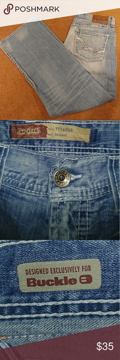 LIKE NEW BIG STAR JEANS These jeans are in excellent condition. They are the big star Voyager relaxed fit as you can see they're very nice. These also came from the buckle. These come from a smoke-free home. Any questions let me know. Big Star Jeans Relaxed