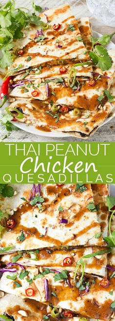 Thai Peanut Chicken Quesadillas - Thai chicken gets a fusion twist in these Thai peanut chicken quesadillas! Loaded with flavor and fun to make, try them tonight!   The Chunky Chef
