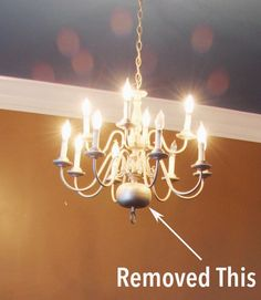 "So last time I revealed photos of our ""new"" house and I hope you could see the impact paint can have on a home. Today, I'm sharing the first makeover from the new house that doesn't involve paint! Brass Chandelier Makeover, Old Chandelier, Coastal Chandelier, Spray Painted Chandelier, Chandeliers, Bathroom Chandelier, Chandelier Ideas, Coastal Lighting, Brass Ceiling Fan"