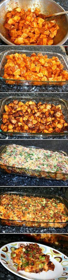 Loaded Potato & Buffalo Chicken Casserole