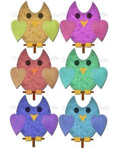 Instant Download, Owl Graphics, Clip Art, Whimsical Graphics, Cute Owl Graphics, PNG Files