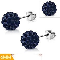 Stainless Steel Argil Ball Shamballa Stud Earrings With Dark Sapphire CZ Pair Black Stud Earrings, Women's Earrings, Square Earrings, Steel Jewelry, Sapphire, Stainless Steel, Pairs, Mystic, Jet