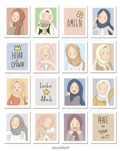 Anime Stickers, Cute Stickers, Homemade Stickers, Islamic Cartoon, Anime Muslim, Hijab Cartoon, Arte Disney, Cute Doodles, Journal Stickers