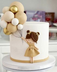 Baby Girl Birthday Cake, Beautiful Birthday Cakes, Beautiful Cakes, Amazing Cakes, Elegant Birthday Cakes, 21st Birthday Cakes, Baby Girl Cakes, Happy Birthday, Creative Birthday Cakes
