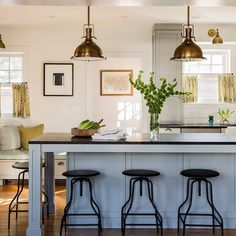 Pictures of this recently photographed kitchen on my website. : @michaeljleephotography 4 kids, ages 6 and under live in this not so big house. I  big families. #sabbeinteriordesign [LINK in profile]