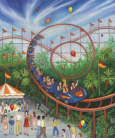 Browse through images in Linda Mears' Circus and Carnivals collection. Circus and Carnivals by Linda Mears Composition Painting, Picture Composition, Roller Coaster Drawing, Roller Coasters, Art Drawings For Kids, Art For Kids, Coaster Art, Cute Couple Art, Korean Art